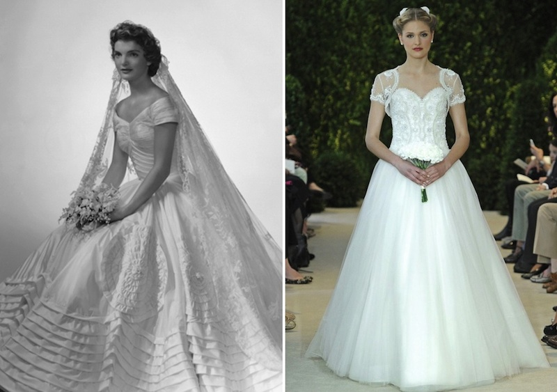 5 modern day wedding dresses inspired by 20th century for Jackie kennedy inspired wedding dress