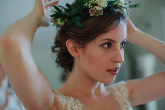 Sophisticated-Barn-Wedding-in-Virginia-Pinwheel-Collective-Bridal-Floral-Crown-United with Love