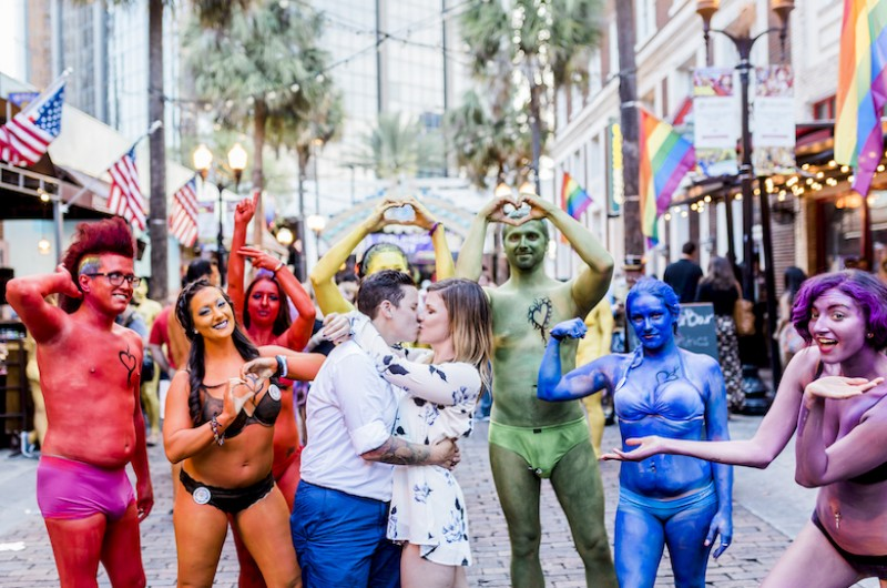 Image for Celebrating Love Amidst A Tragedy: Chelsea and Christina's Downtown Orlando Engagement Shoot