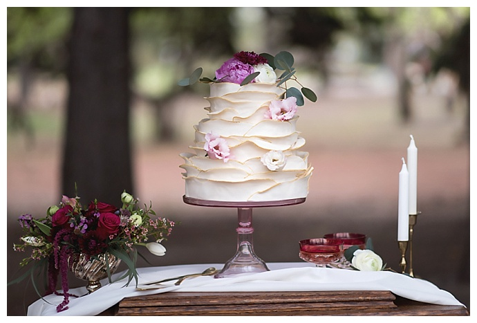 white-ruffle-wedding-cake-chloe-buie-photography