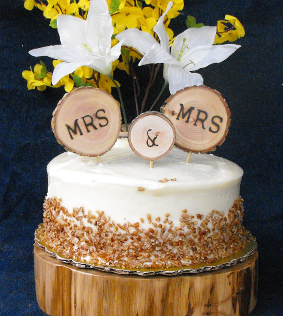 Mrs. and Mrs. Wedding Cake Topper