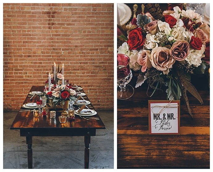 vintage-bennie-and-clyde-styled-shoot-table-scape-florals