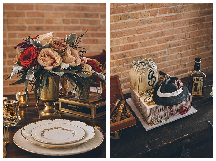 vintage-bennie-and-clyde-styled-shoot-wedding-cake