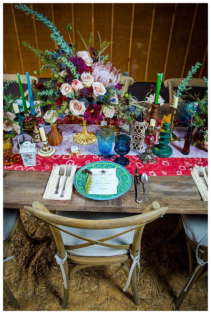 bohemian-table-scape-rustic-wedding-red-bridge-photography