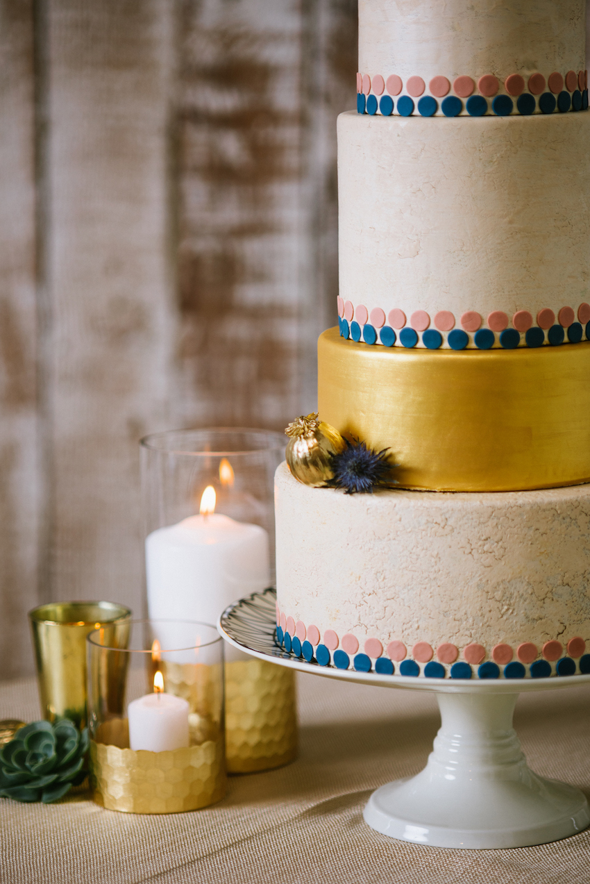 Crackled Metallic Wedding Cake