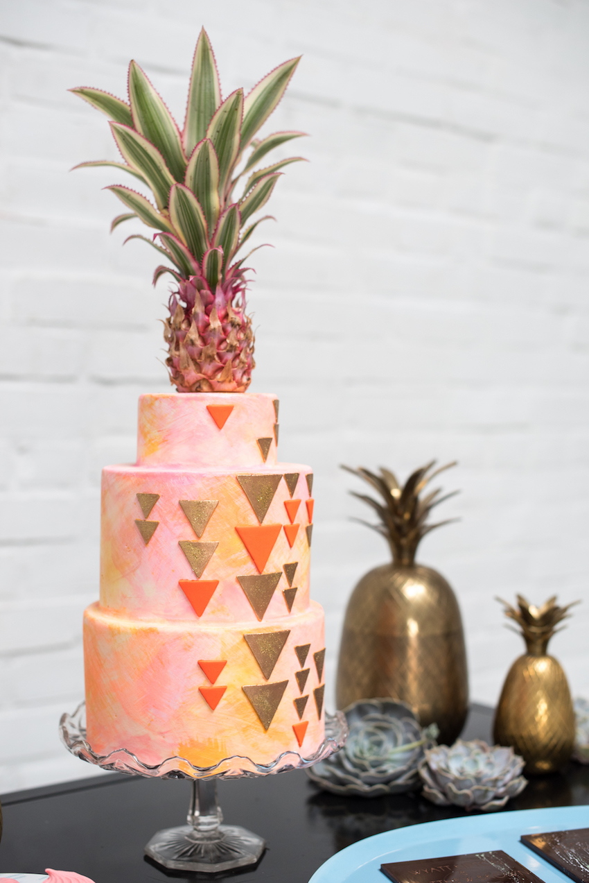 Geometric Wedding Cake with Pineapple Cake Topper