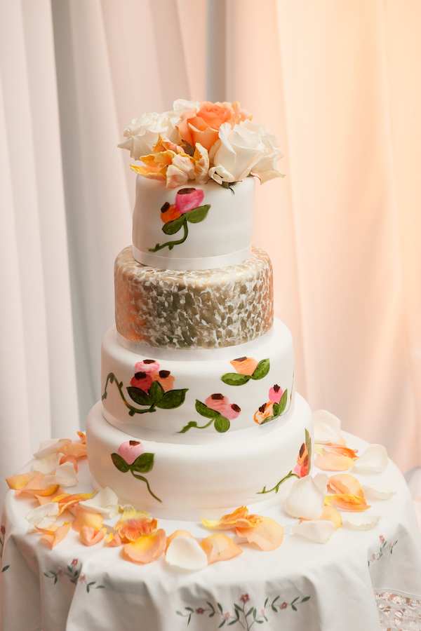 Hand-Painted Metallic Fleck Wedding Cake