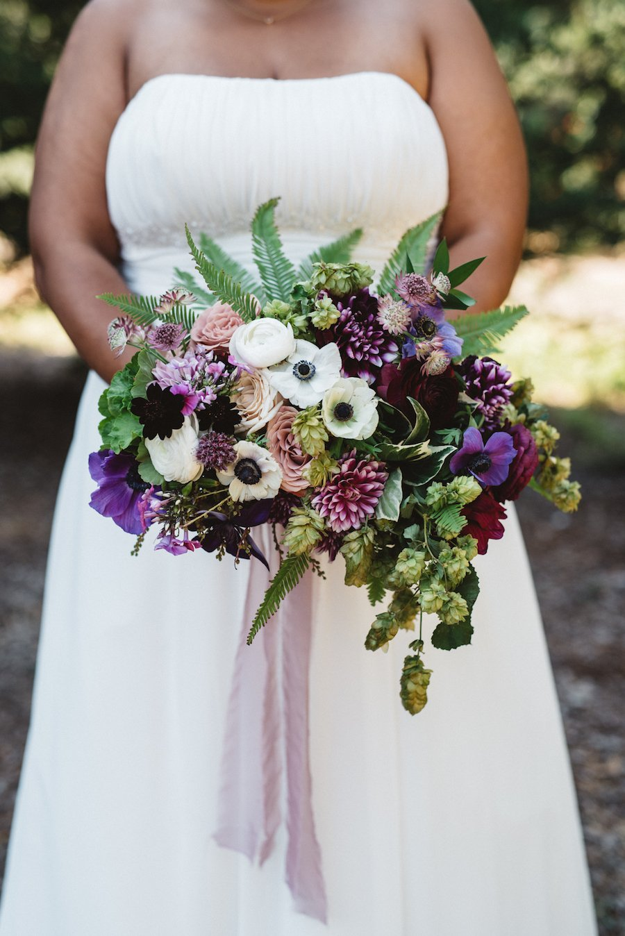 Purple Green and White Bridal Bouquet