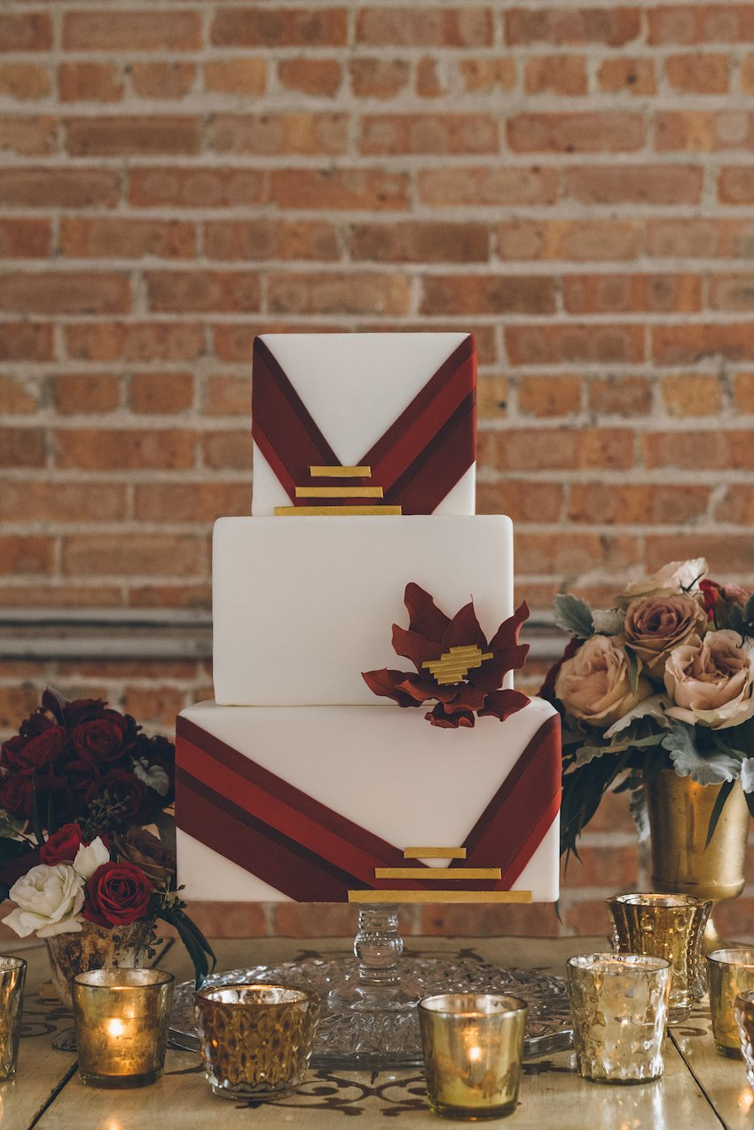 Red Geometric Wedding Cake