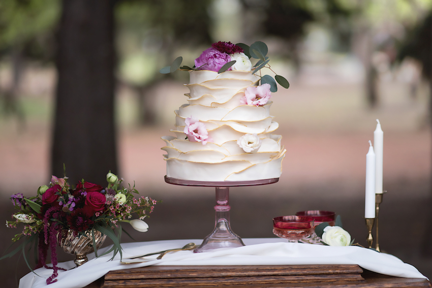 Ruffled Floral Wedding Cake
