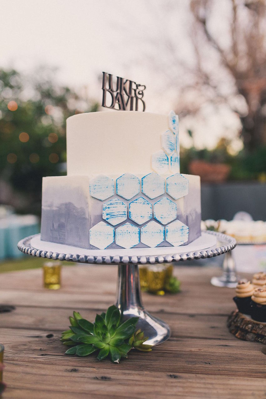 Ombre Wedding Cake with 3-D Geometric Details