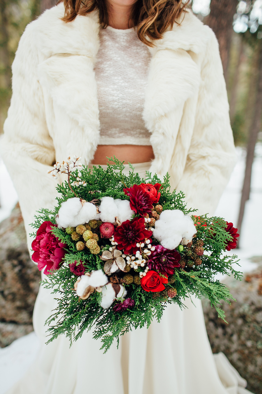 Winter Bridal Bouquet with Roses and Cotton