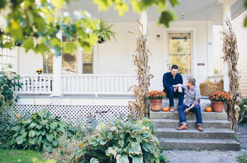 Image for Cody and Zach's Cheerful At-Home Fall Engagement Shoot