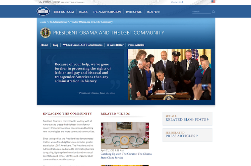 Image for LGBT Page Removed from White House Website