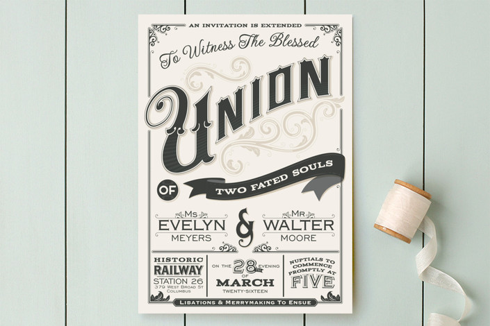 14 masculine wedding invitations that dont skimp on design love bold typographic masculine wedding invitation stopboris Choice Image