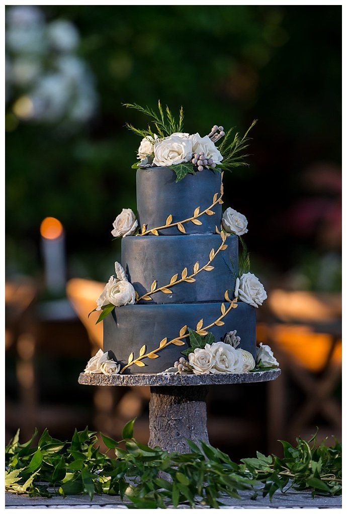 mary-veal-photography-blue-wedding-cake-gold-vine-detailing-white-flowers