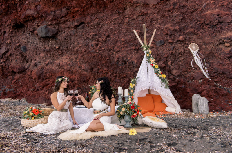 Image for Colorful Bohemian Wedding Inspiration off the Coast of Santorini