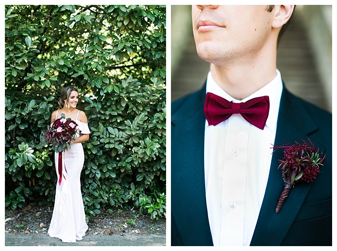burgundy-wedding-bow-tie-boutonniere-macy-oconnell-photography