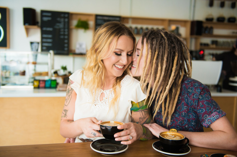 Image for Lindsay and Katie's Candid Coffee Shop Engagement in St. Pete