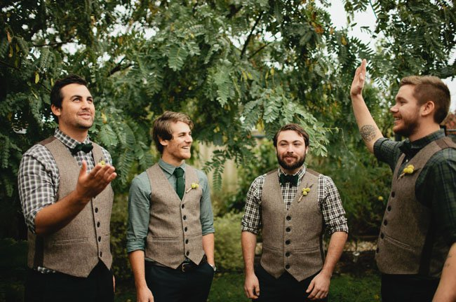 mix-and-match-groomsmen-look-with-tweed-vests-and-plaid-shirts