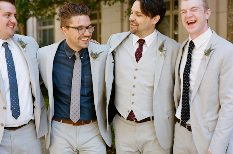 Image for 8 Wedding Parties who Nailed the Mismatched Suit Style Trend