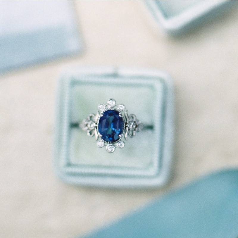 vintage-sapphire-engagement-ring-trumpet-and-horn