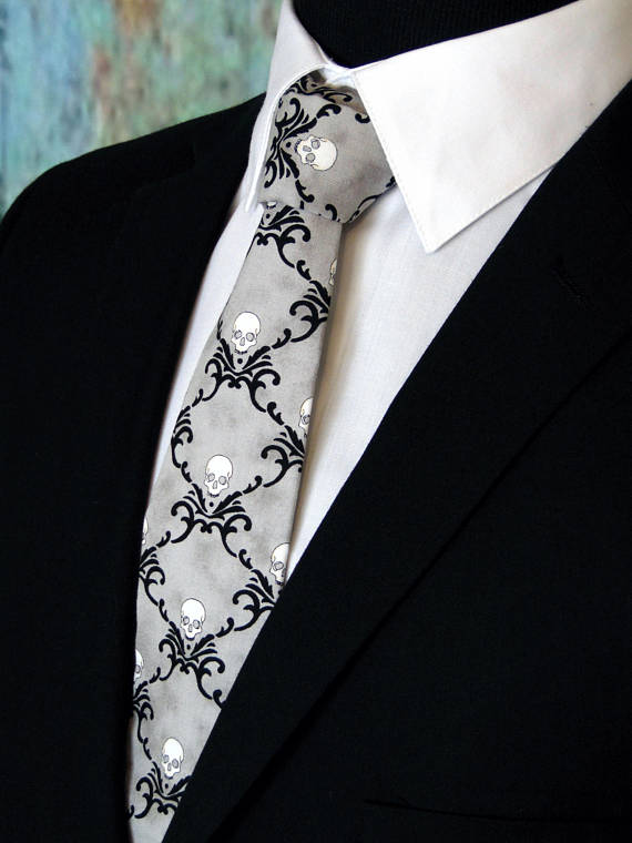 skull-halloween-wedding-tie