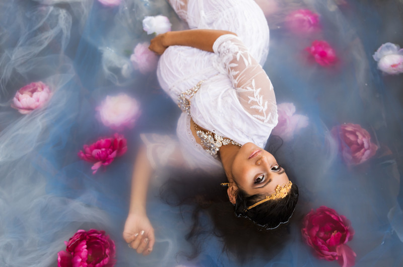 Image for Preeti's Striking and Serene Flower Bath Expecting Session
