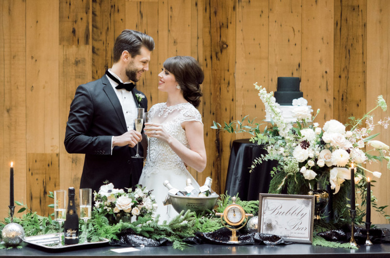 Image for Elegant Black Tie New Year's Eve Wedding Inspiration