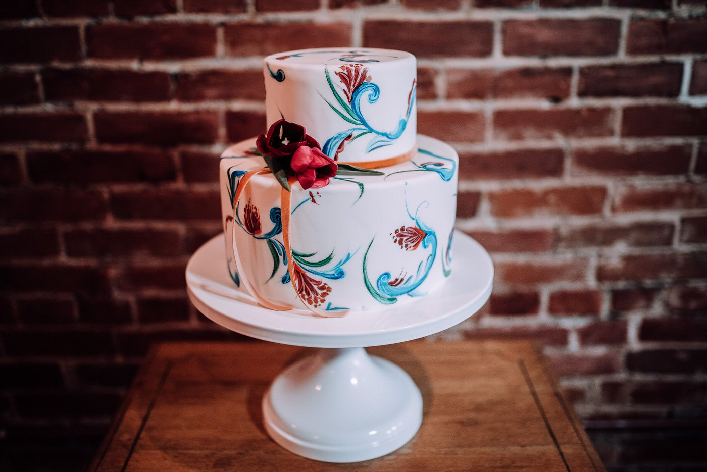painted-floral-wedding-cake-best-of-2017-wedding-cakes