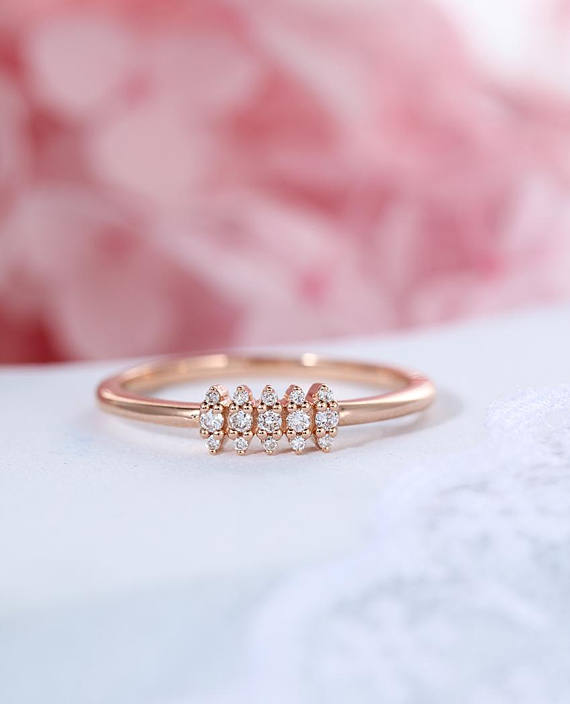 Cluster Dainty Engagement Ring