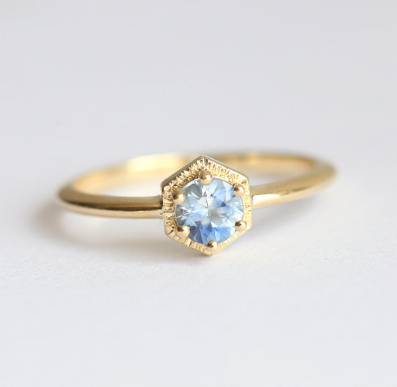 Dainty Sapphire Engagement Ring