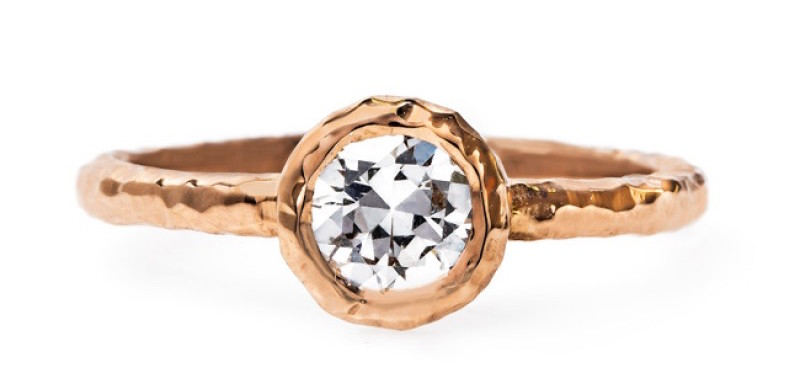 Trumpet & Horn Rose Gold Hammered Engagement Ring