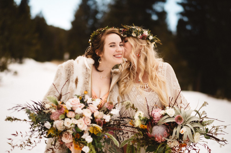 Image for A Snowy Bohemian Mountain Wedding Inspiration Shoot