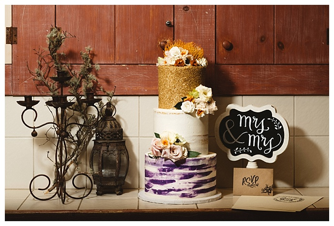 purple-and-gold-wedding-cake-kate-merrill-photography