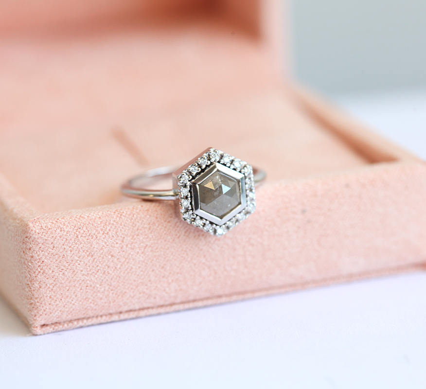 silver-hexagon-engagement-ring-with-gray-diamond