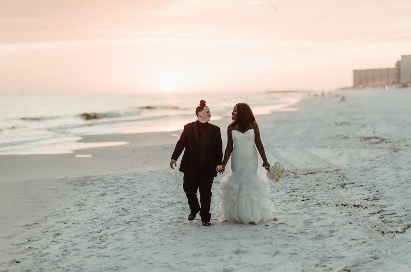 Image for Shabria and Ashley's Golden Hour Black Tie Beach Wedding