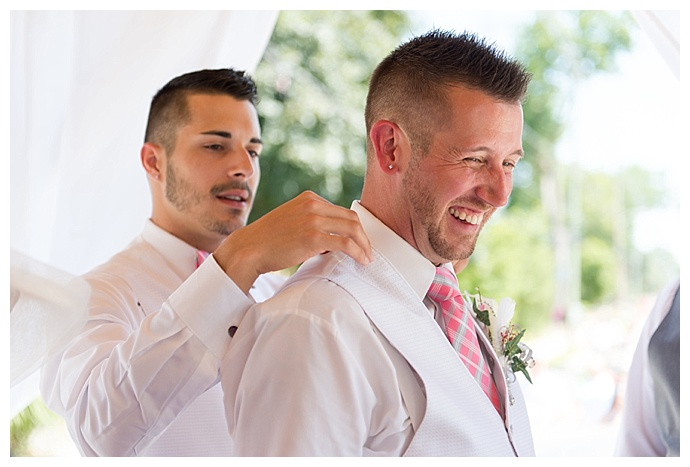 white wedding vest with pink tie