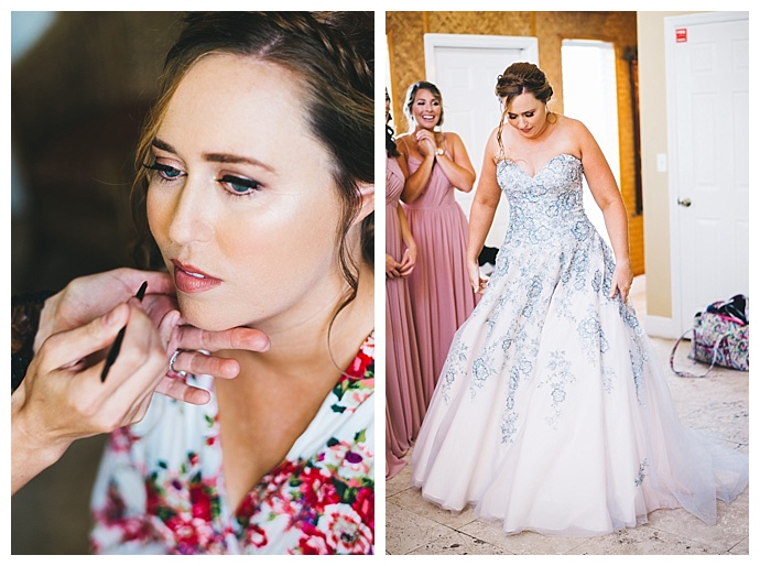 colorful strapless wedding dress