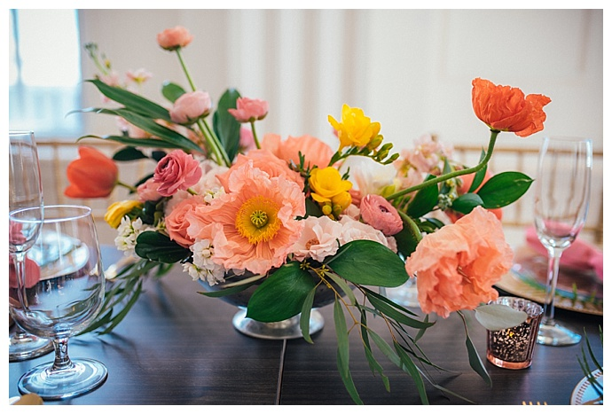 coral and yellow wedding flowers