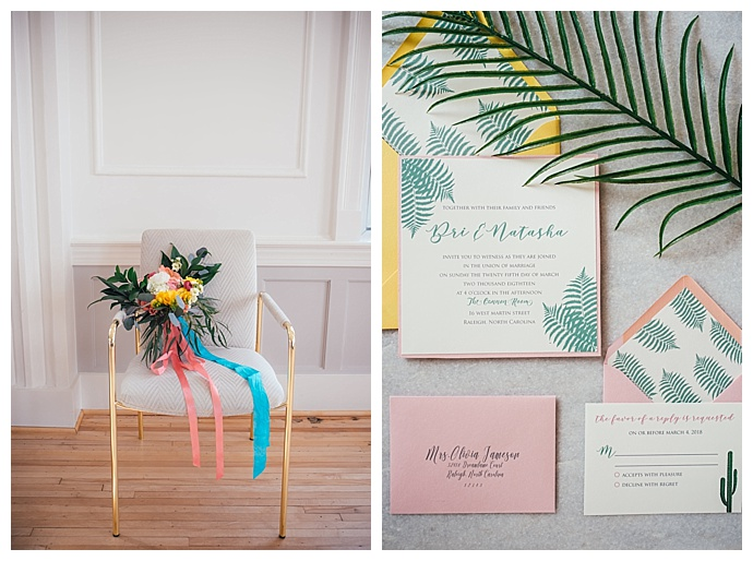 coral and yellow wedding inspiration