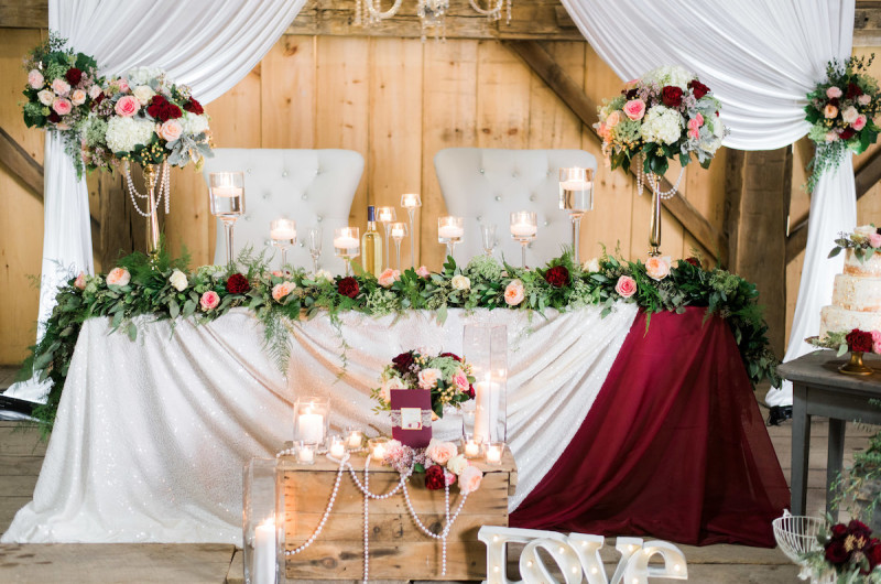 Image for A Burgundy and Gold Rustic Glam Wedding Inspiration Shoot