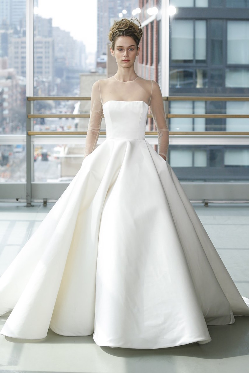 gracy accad illusion long sleeve ball gown