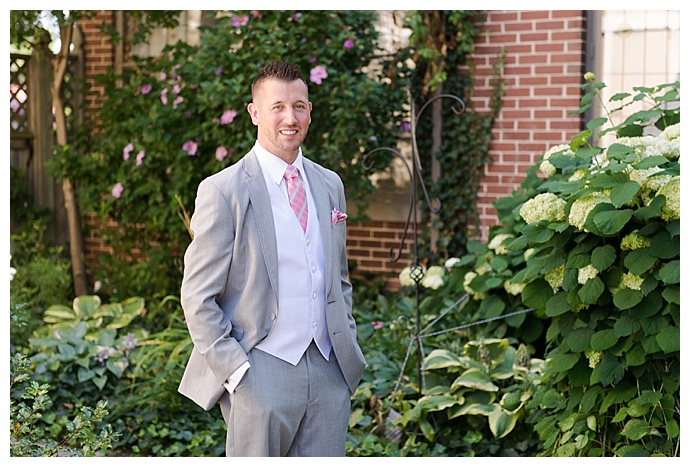 gray wedding suit with white vest