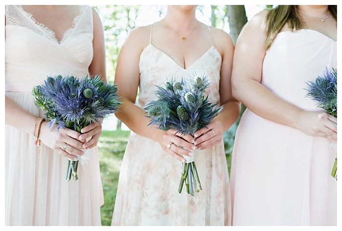 blue thistle bridesmaids bouquet