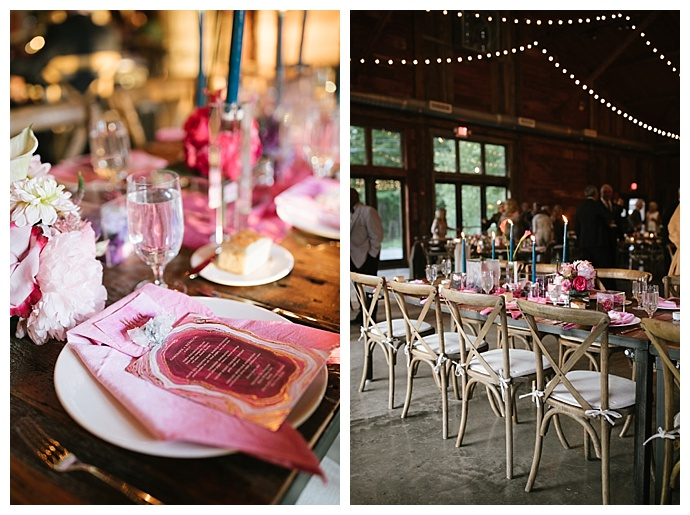 pink agate wedding decor