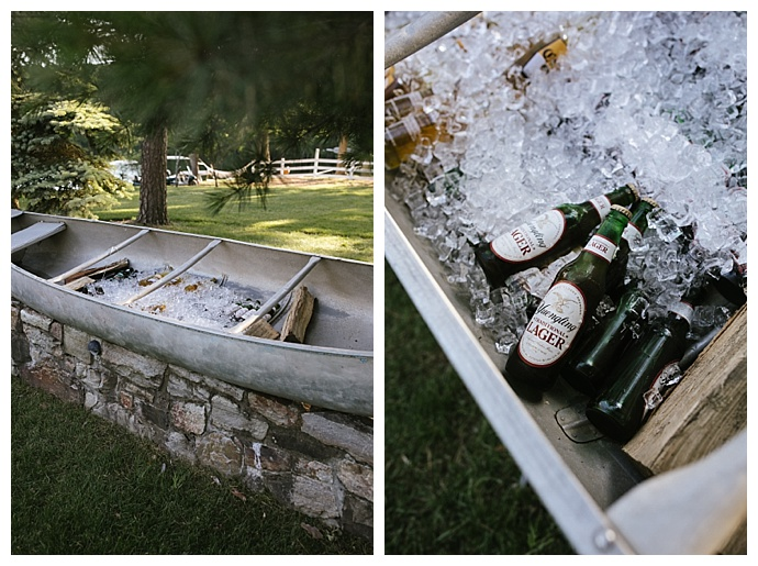 wedding beer canoe