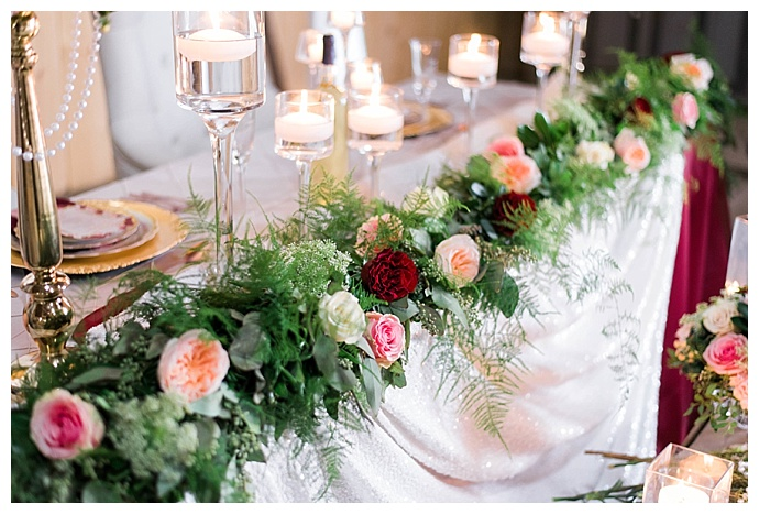 sweetheart table floral garland