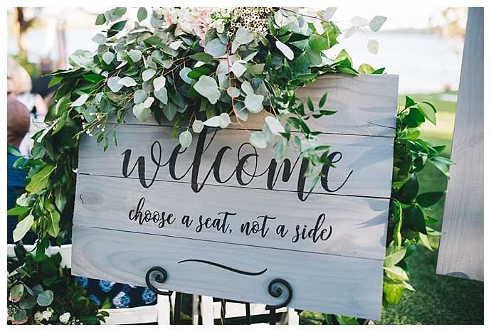 gray wedding welcome sign