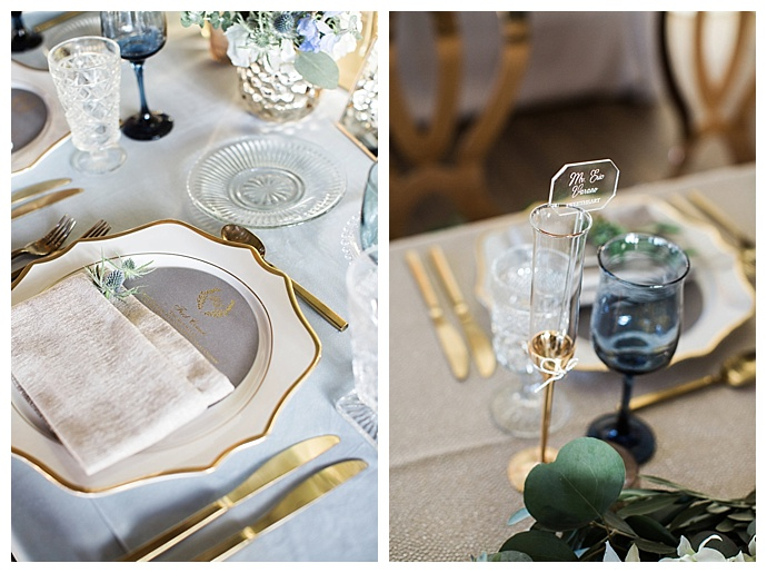 blue and gold wedding table decor